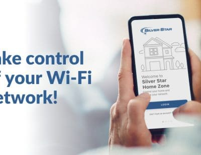 """The Silver Star Home Zone App in the hands of a customer. Headline reads """"take control of your wi-fi network!"""""""