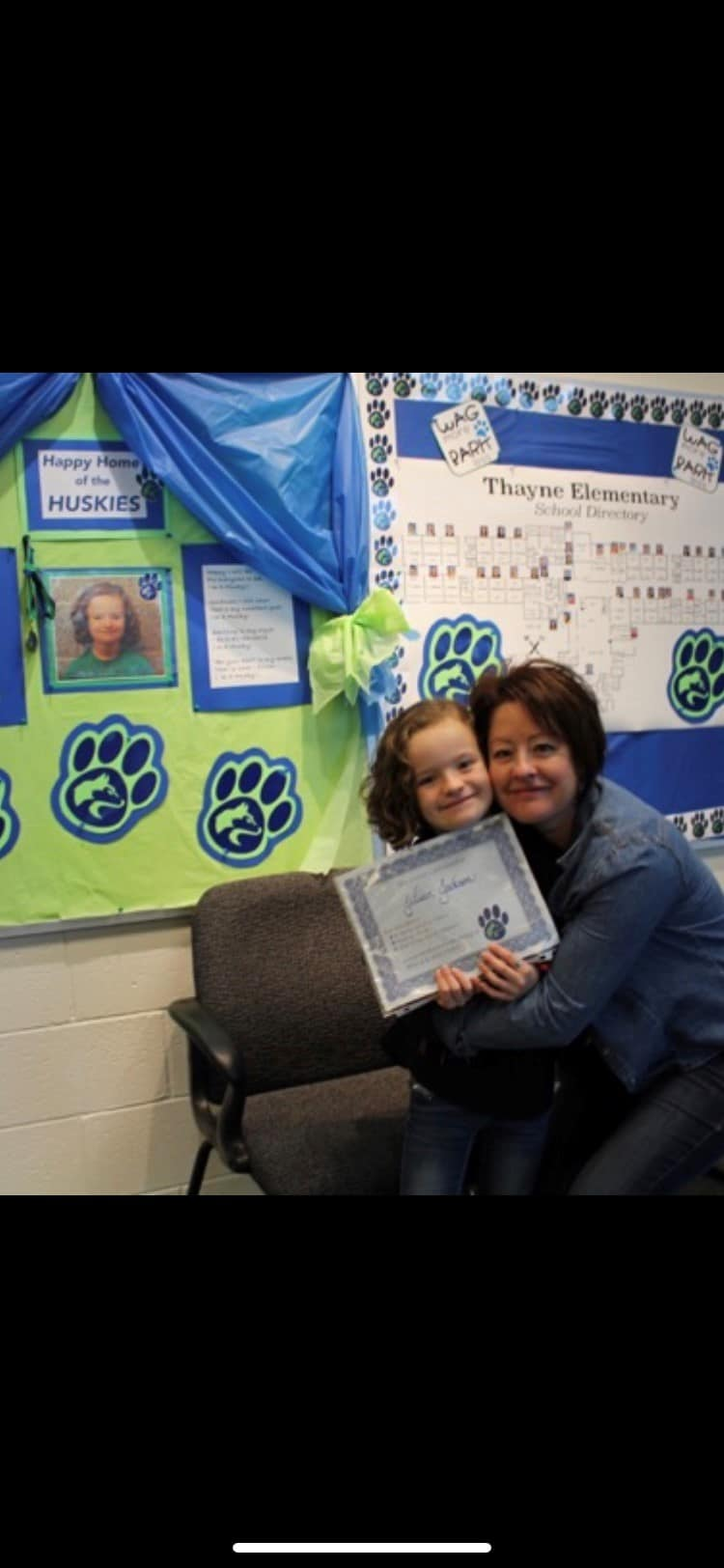 Bonnie and her youngest daughter at a school event