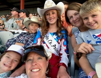 Bonnie with her daughters at the fair