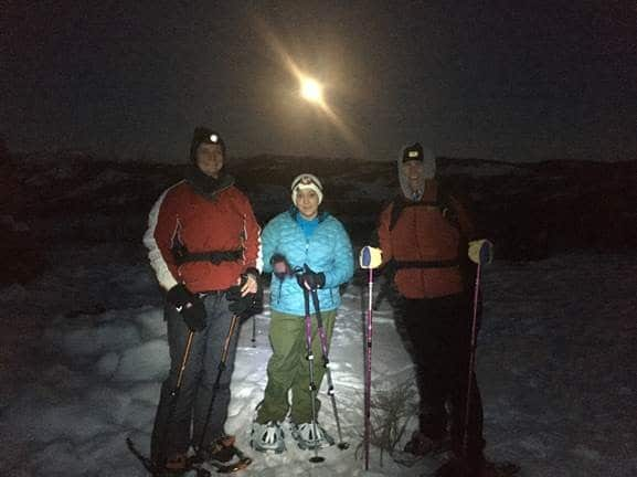 Full Moon snowshoe hike with friends